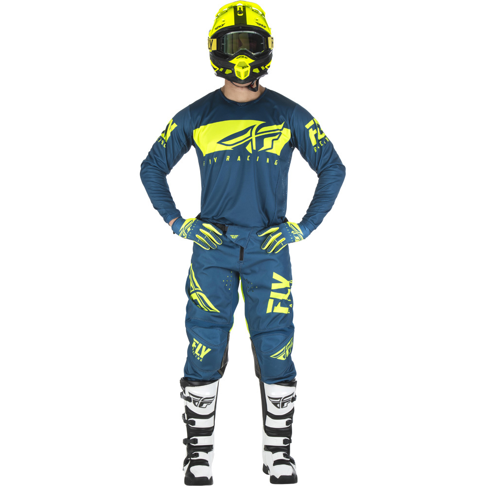 Fly - 2019 Kinetic Shield Navy/Hi-Viz комплект джерси и штаны, Hi-Viz-синие