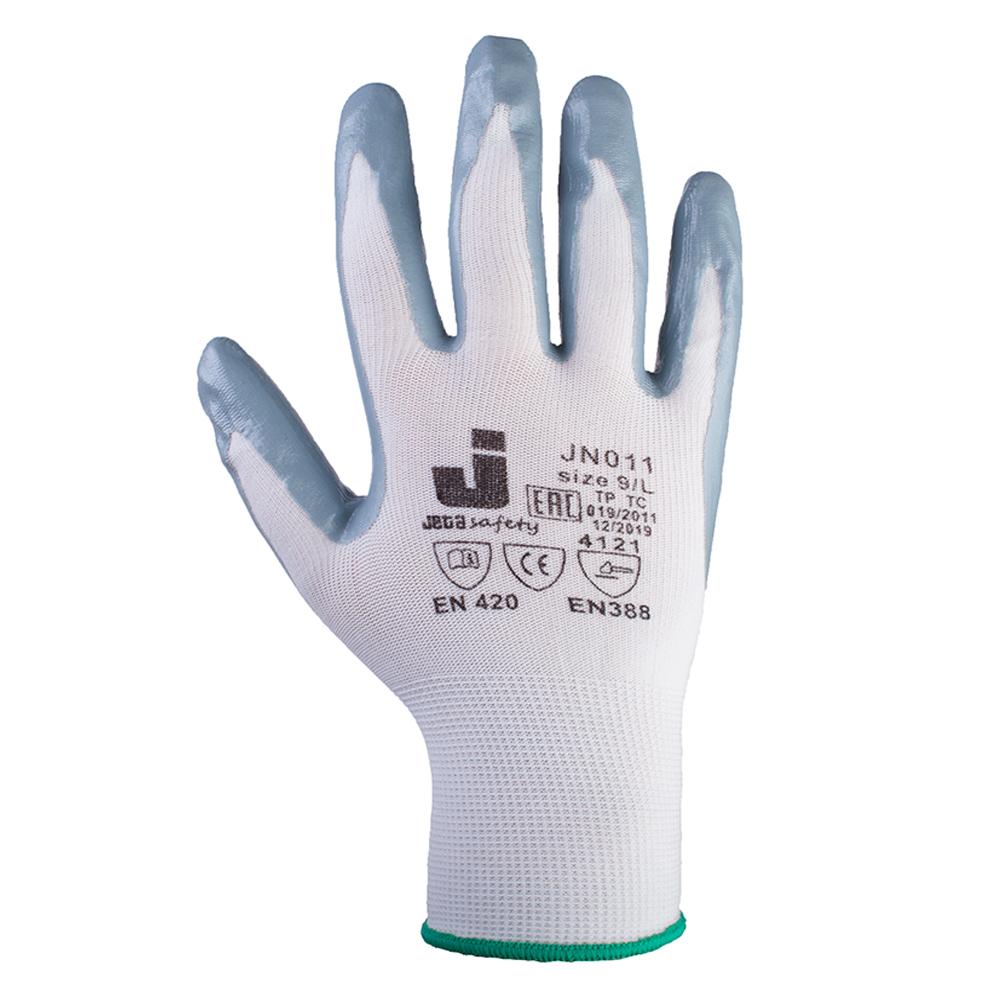 Jeta Защитные промышленные перчатки с нитриловым покрытием. Размер: 9/L. Цвет: белый