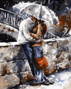 Картина по номерам «Романтическая прогулка под дождём» 40x50 см