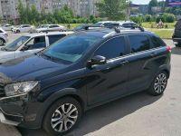 Багажник на крышу Lada XRay Cross, аэродинамические дуги на интегрированные рейлинги (черный цвет)