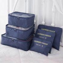 Набор дорожных сумок для путешествий Laundry Pouch, 6 шт, синий