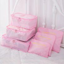 Набор дорожных сумок для путешествий Laundry Pouch, 6 шт, розовый