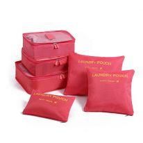 Набор дорожных сумок для путешествий Laundry Pouch, 6 шт, красный