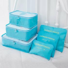 Набор дорожных сумок для путешествий Laundry Pouch, 6 шт, голубой