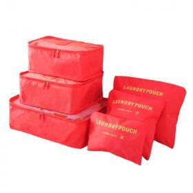 Набор Дорожных Сумок Для Путешествий Laundry Pouch, 6 Шт, Цвет Красный