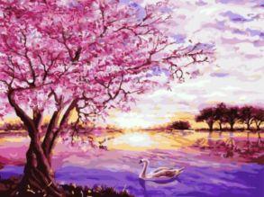 Картина по номерам «Сакура и лебедь» 30x40 см