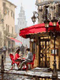 Картина по номерам «Влюбленные в кафе» 30x40 см