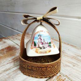 Валдайский керамический колокольчик  в корзинке 1