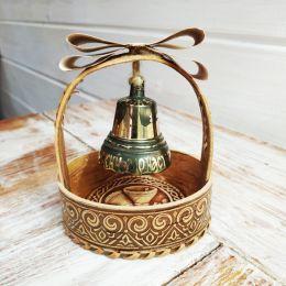 Валдайский колокольчик с гравировкой №4 в корзинке