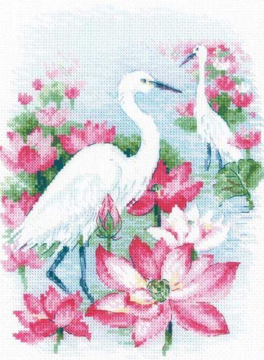 Набор для вышивания крестом Поле лотосов. Цапли №1868 фирма Риолис