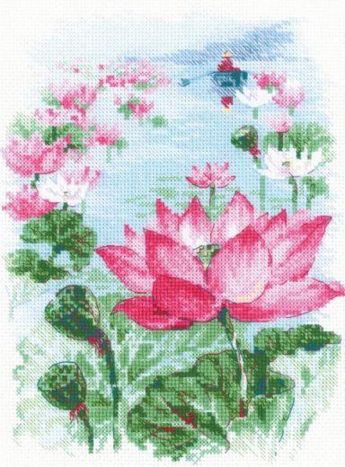 Набор для вышивания крестом Поле лотосов. Рыбак №1870 фирма Риолис