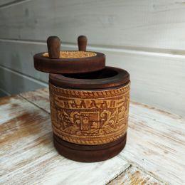 Солонка деревянная с крышкой (малая)