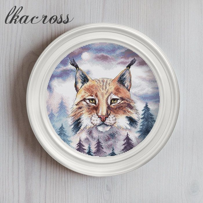 """Eurasian Lynx"". Digital cross stitch pattern."