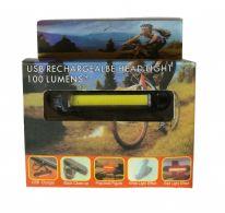 Ходовая велосипедная фара USB Rechargeable Head Light 100 Lumens+, жёлтый