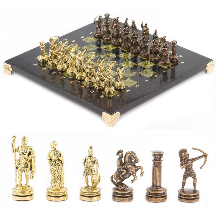 Шахматы Лучники, доска змеевик 28 х28 см