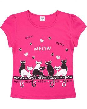 "Футболка для девочек 8-12 лет Bonito ""Meow"" фуксия"