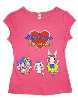 "Футболка для девочки 4-8 года Dias kids ""My Cute animals"" фуксия"
