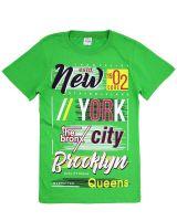 """Футболка для мальчиков 8-12 лет Bonito """"New York city"""" зеленая"""