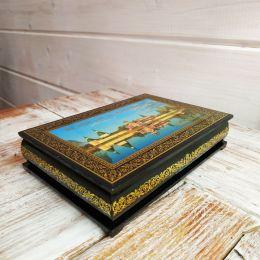 Шкатулка «Иверский монастырь», лаковая миниатюра