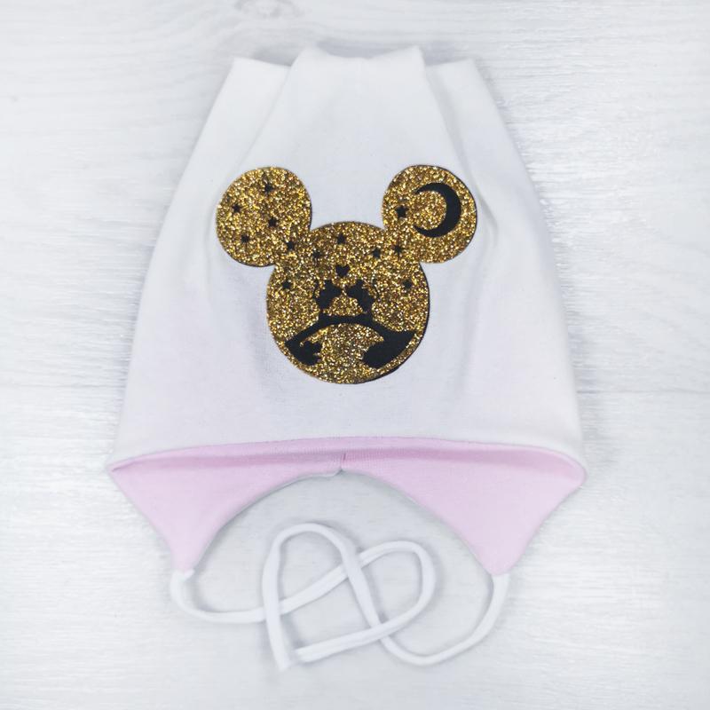 вн1145-32 Шапка трикотажная на завязках с ушками МиМи молочная