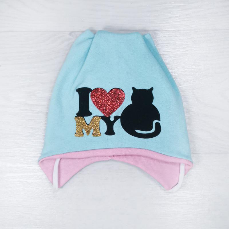 вн1146-34 Шапка трикотажная на завязках с ушками I love my cat мята