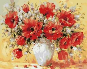 Картина по номерам «Букет из маков в вазе» 40x50 см