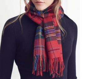теплый шотландский шарф 100% шерсть ягнёнка, расцветка клана Маклин MACLEAN OF DUART MODERN TARTAN