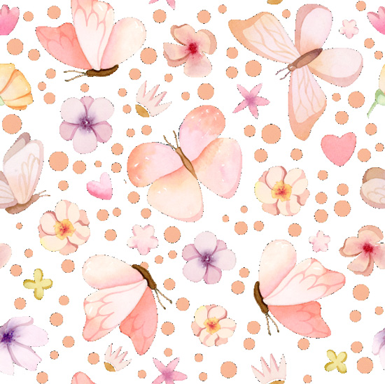 Хлопок Перкаль Милые бабочки на белом 50х37
