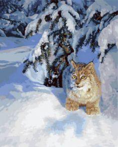 Картина по номерам «Рысь в снегу» 40x50 см