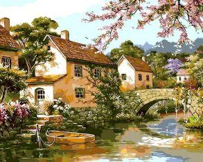 Картина по номерам «Двухэтажные домики у реки» 40x50 см