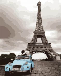 Картина по номерам «Кабриолет у башни» 40x50 см