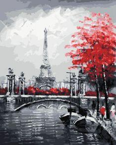 Картина по номерам «Канал на фоне Эйфелевой башни» 40x50 см