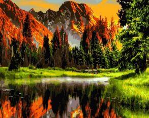 Картина по номерам «Пылающий закат в горах» 40x50 см