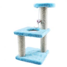 Трёхъярусный игровой комплекс-когтеточка с мышкой, голубой