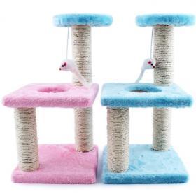Трёхъярусный игровой комплекс-когтеточка с мышкой, розовый