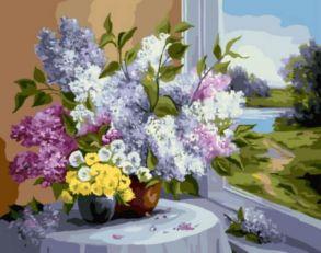 Картина по номерам «Букет у окна» 40x50 см