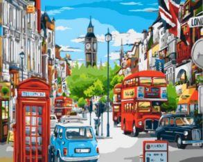 Картина по номерам «Лондонская улица в ярких красках» 40x50 см