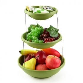 Складная пластиковая ваза для фруктов и снеков Twistfold Party Bowls, 3 яруса, зелёный