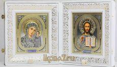 Складень большой 23 Казанская-Спаситель (белый жаккард)