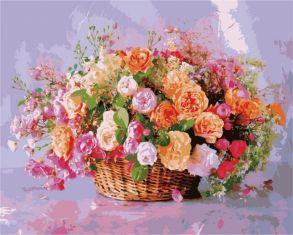 Картина по номерам «Корзина роз» 40x50 см