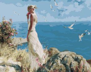 Картина по номерам «Девушка на фоне моря» 40x50 см