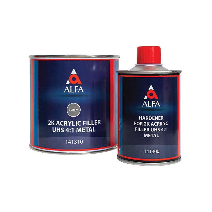 """Alfa 2К Акриловый грунт-наполнитель """"на металл"""" 4:1 FILLER UHS + отвердитель, комплект, объем 800мл.+200мл."""