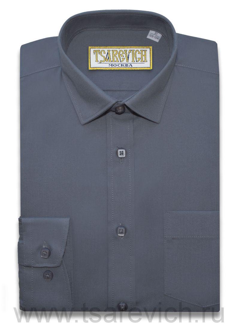 "Рубашки для мальчиков оптом ""Царевич"" (6-14 лет.). 10 шт. Артикул: Steel Grey slim"
