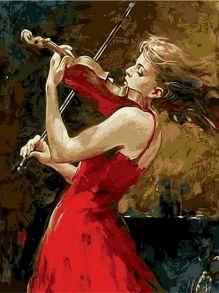 Картина по номерам «Скрипачка в красном» 40x50 см