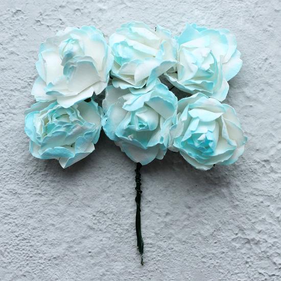 Бумажные цветы Голубой с белым - Кукольная миниатюра