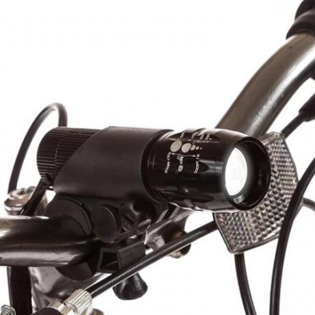Передний яркий велофонарь с креплением на руль и зумом