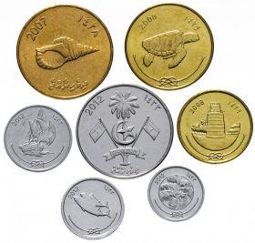 Мальдивы  - набор 7 монет 2007-2017 год UNC