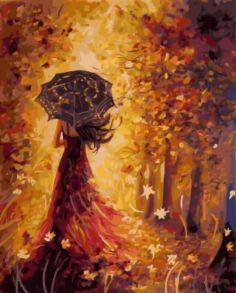 Картина по номерам «Осенняя фея» 40x50 см