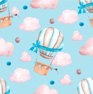 Хлопок Сатин Воздушные шары на голубом 50х40
