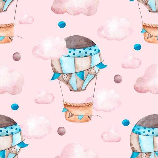 Хлопок Сатин Воздушные шары на розовом 50х40 УЦЕНКА